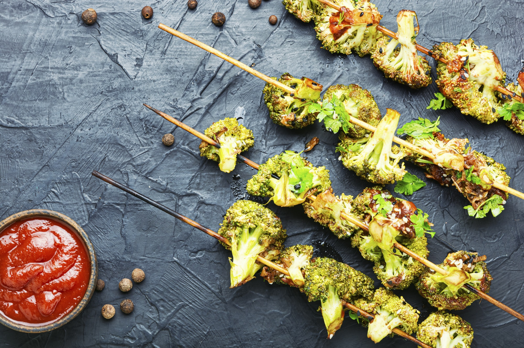 Kebab from broccoli cabbage